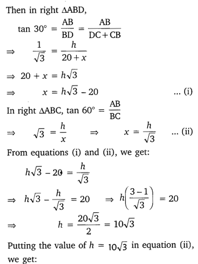 NCERT Solutions for Class 10 Maths Chapter 9 Some Applications of Trigonometry 16