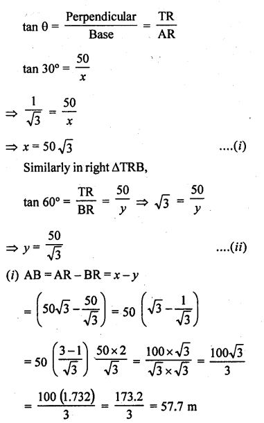 RD Sharma Class 10 Solutions Chapter 12 Heights and Distances Ex 12.1 - 52a