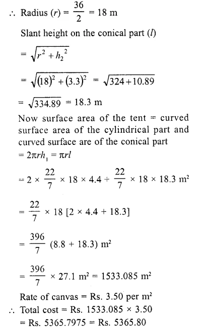 RD Sharma Class 10 Solutions Chapter 14 Surface Areas and Volumes Ex 14.2  3a