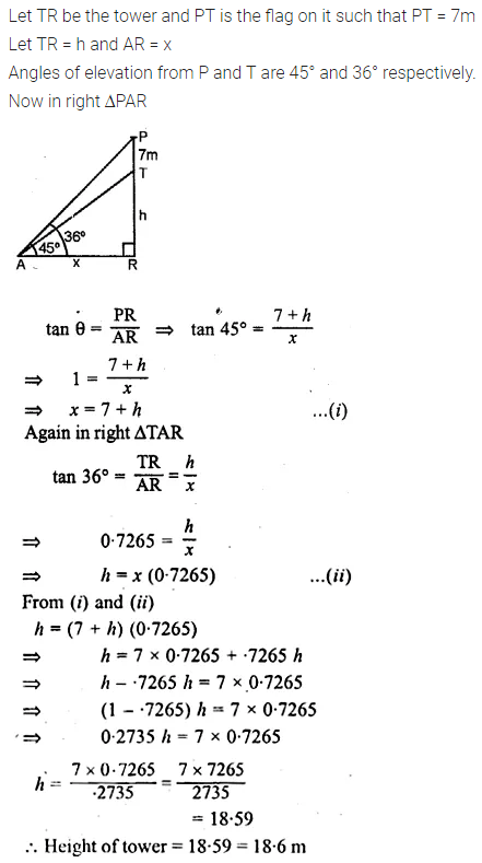 ML Aggarwal Class 10 Solutions for ICSE Maths Chapter 21 Heights and Distances Chapter Test 3