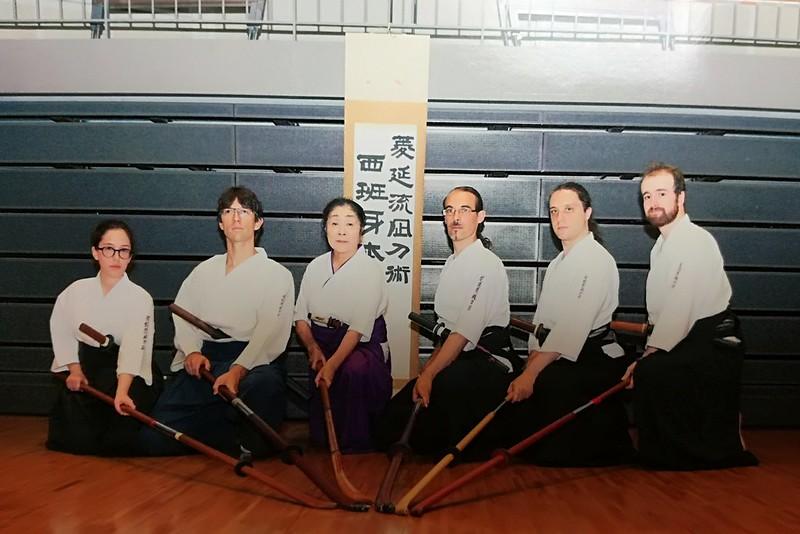 Miembros del dojo de España de Ryôen ryû naginatajutsu en Yoshikawa.
