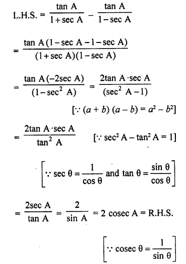 RD Sharma Class 10 Solutions Trigonometric Identities