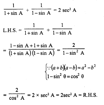 RD Sharma Class 10 Solutions Chapter 11 Trigonometric Identities Ex 11.1 - 25a