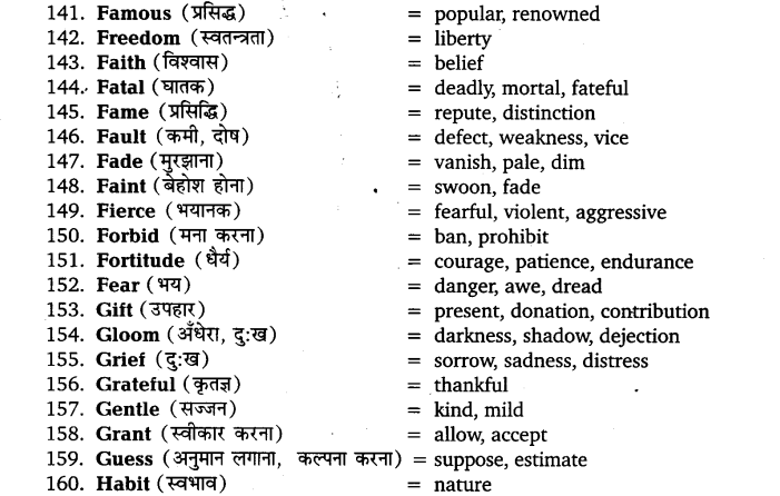 UP Board Solutions for Class 11 English Vocabulary Chapter 5 Synonyms 10