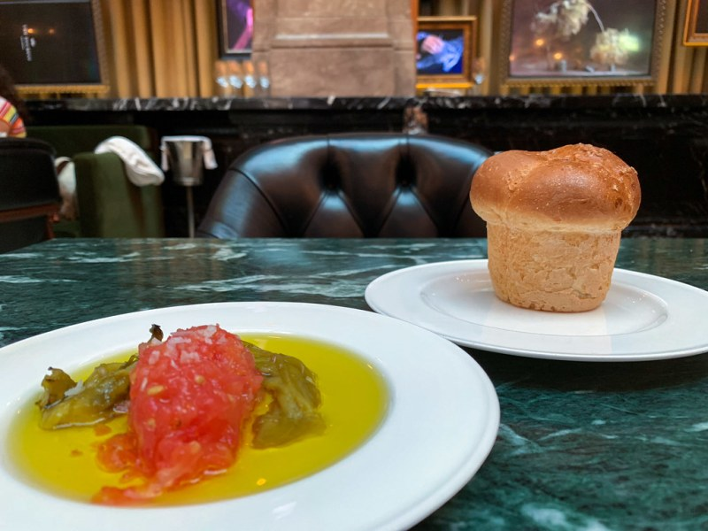 Parker House Roll and Olive Oil with Tomato and Pepper