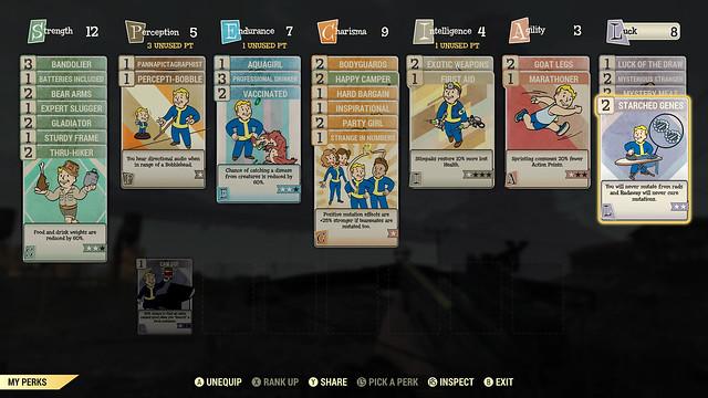 Fallout76 キャラクター育成