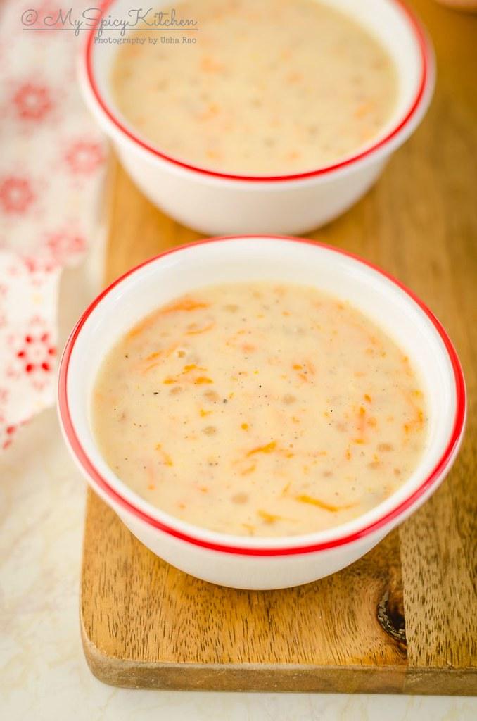 a bowl of Instant Pot Carrot Sabudana Kheer, Instant pot carrot tapioca pearl pudding, instant pot carrot sabudana payasam