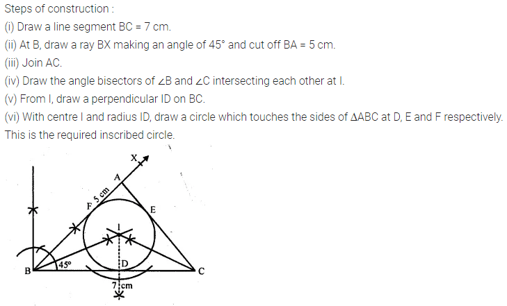 ML Aggarwal Class 10 Solutions for ICSE Maths Chapter 17 Constructions Chapter Test 5