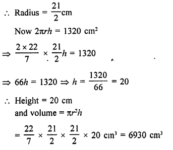 RD Sharma Class 9 Chapter 19 Surface Areas and Volume of a Circular Cylinder