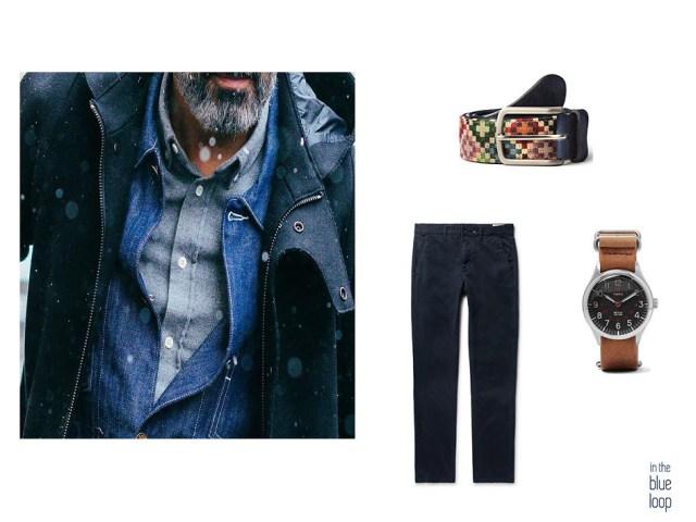 Chinos azules, reloj y cinturón tauce de blue hole