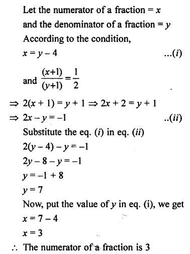 Selina Concise Mathematics class 7 ICSE Solutions - Simple Linear Equations (Including Word Problems) -d18