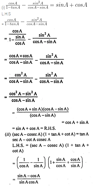 ML Aggarwal Class 10 Solutions for ICSE Maths Chapter 19 Trigonometric Identities Chapter Test 9