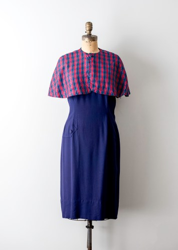 main navy blue plaid red cape dress,jpg