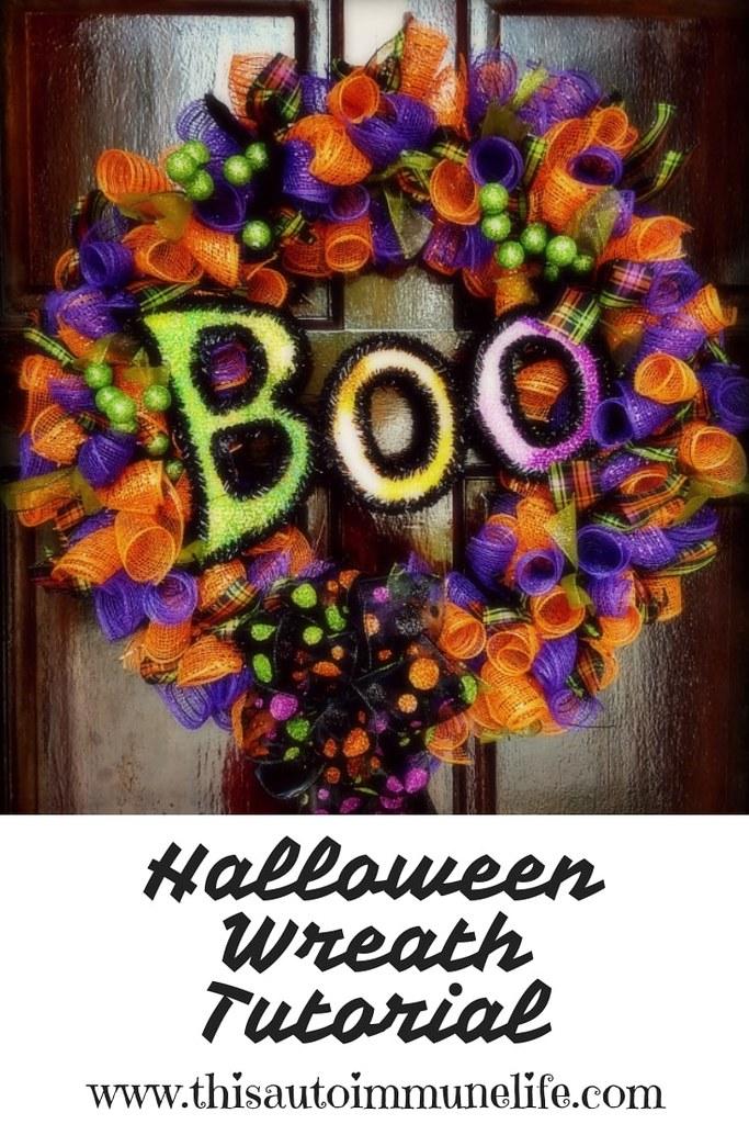 Halloween Wreath Tutorial from www.thisautoimmunelife.com #Halloween #wreath #tutorial
