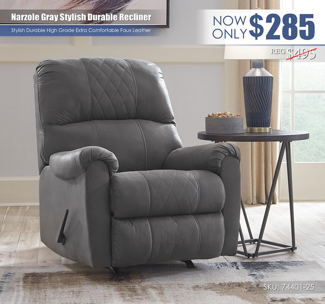 Narzole Gray Stylish Recliner_74401-25