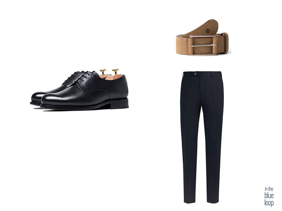 Cinturón de ante Anaga de blue hole con chinos azules y zapatos derby negros