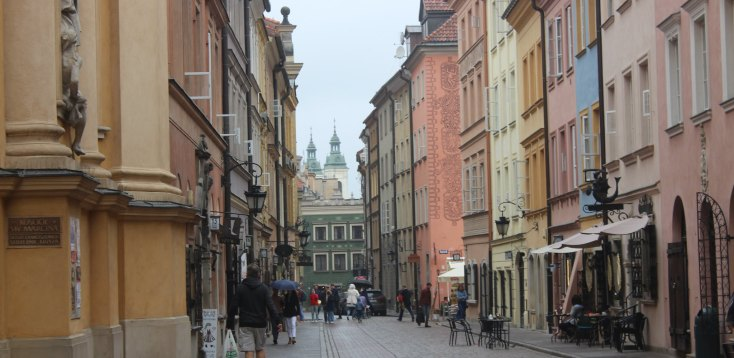 Reconstructed street the the center of Warsaw, Poland