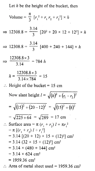 RD Sharma Class 10 Solutions Chapter 14 Surface Areas and Volumes Ex 14.3 12a