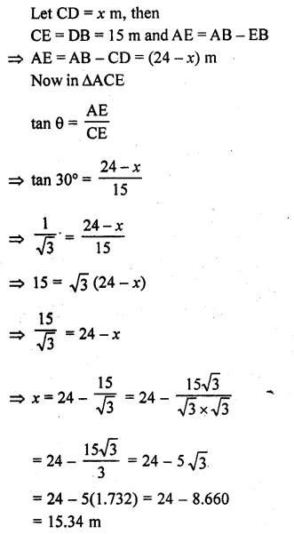 RD Sharma Class 10 Solutions Chapter 12 Heights and Distances Ex 12.1 - 43a