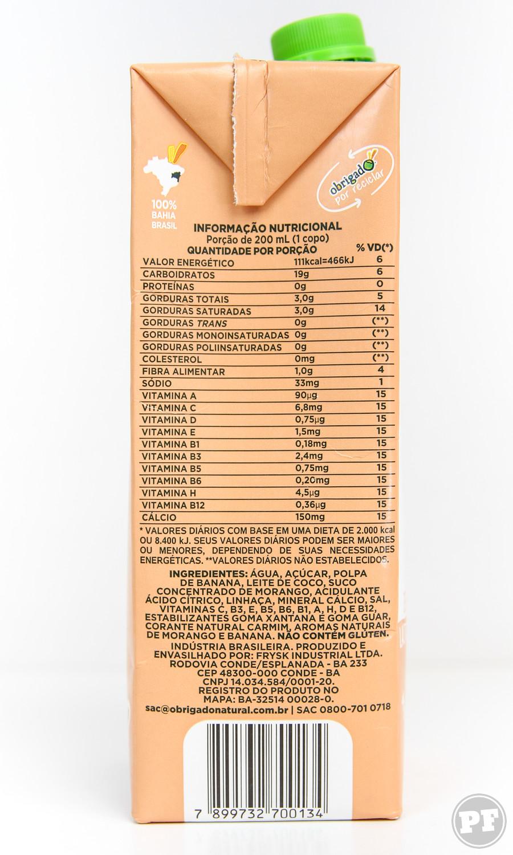 Bebida de Coco de Banana, Morango e Linhaça da Obrigado por PratoFundo.com