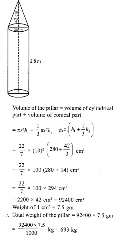RD Sharma Class 10 Solutions Chapter 14 Surface Areas and Volumes  RV 40