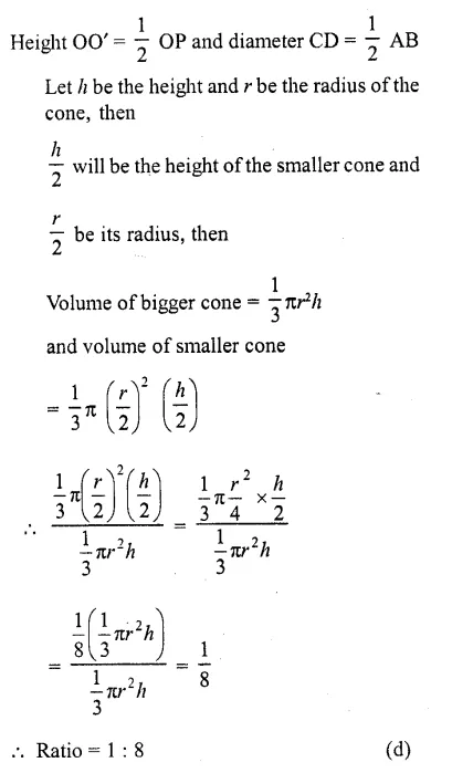 RD Sharma Class 10 Solutions Chapter 14 Surface Areas and Volumes MCQS 10A