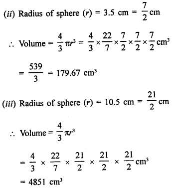 Surface Areas and Volume of a Sphere Class 9 RD Sharma Solutions