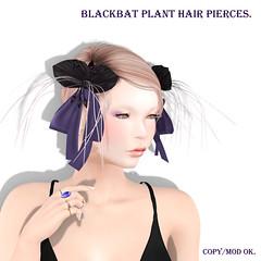 *NAMINOKE*Black Bat Plant HairPierce AD