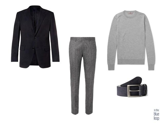 Look élégant et décontracté avec un blazer noir, un pantalon chino gris, une ceinture en igara et un pull gris
