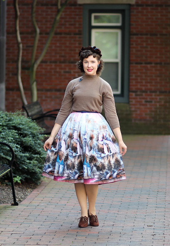 1950s pink novelty landscape skirt with brown hat and shoes