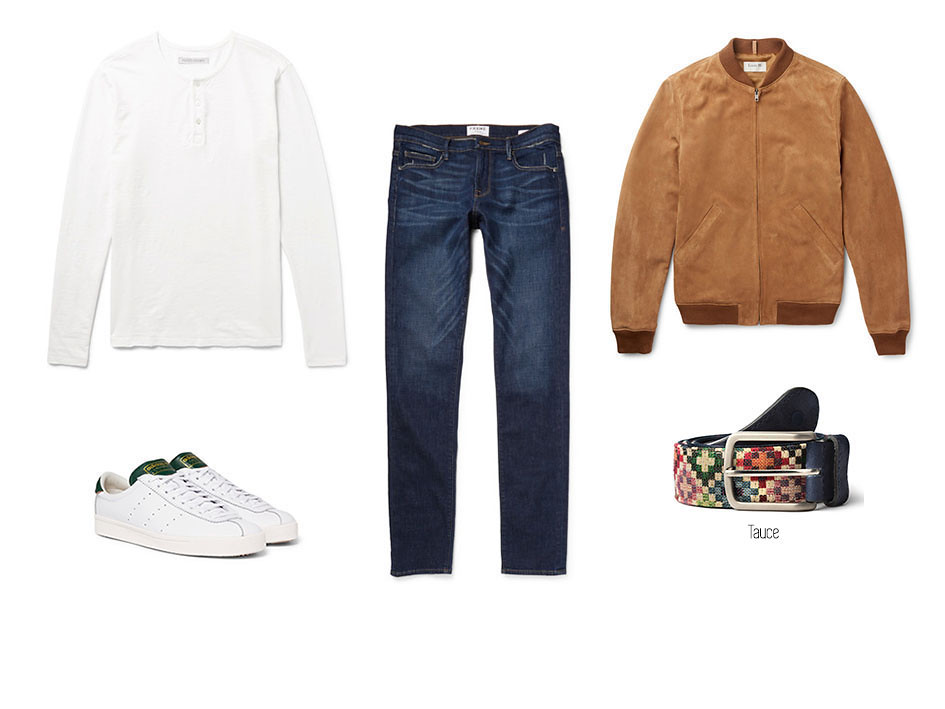 Look casual con cazadora, vaqueros o jeans, camiseta blanca, sneakers blancas y cinturón Tauce de blue hole