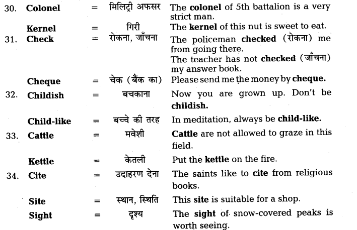 UP Board Solutions for Class 11 English Vocabulary Chapter 7 Homophones 8
