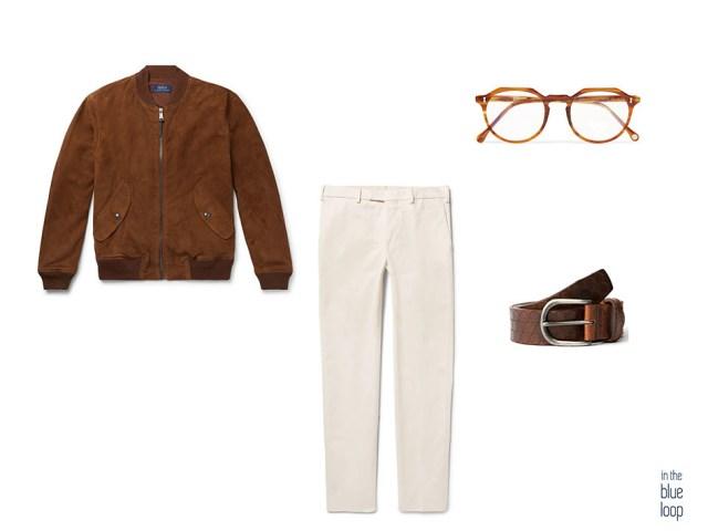 Look masculino con cinturón Nublo de blue hole, cazadora de ante, chinos blancos y gafas de vista