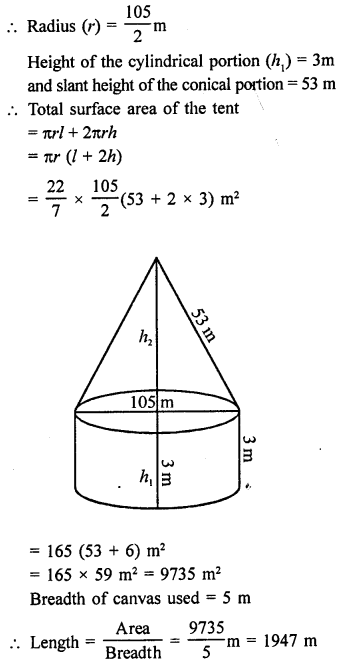Surface Areas and Volume of A Right Circular Cone With Solutions PDF RD Sharma Class 9 Solutions