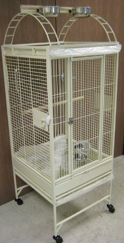New Parrot Bird Wrought Iron Cage 18x18x53 Play-Top *Egg Shell White* For Sale