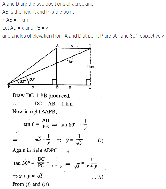 ML Aggarwal Class 10 Solutions for ICSE Maths Chapter 21 Heights and Distances Chapter Test 7