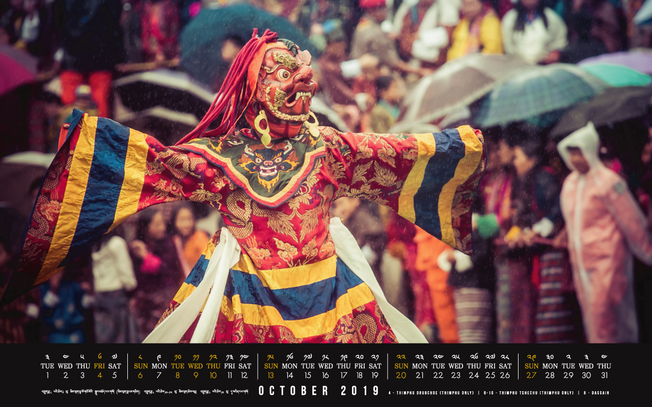 Bhutan calendar: October 2019