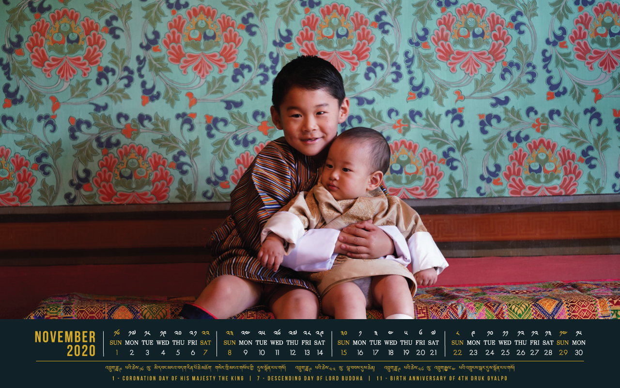 Bhutan calendar: November 2020