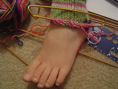 L. with her WIP sock