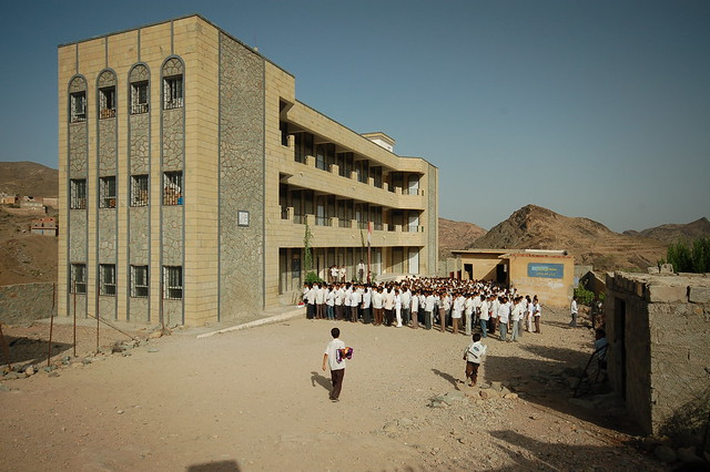 Village school assembly in Yemen
