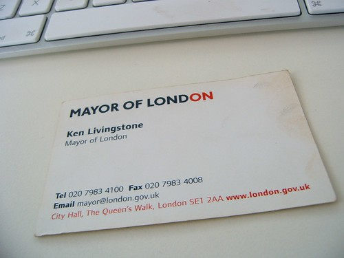 Ken Livingstone's Business Card