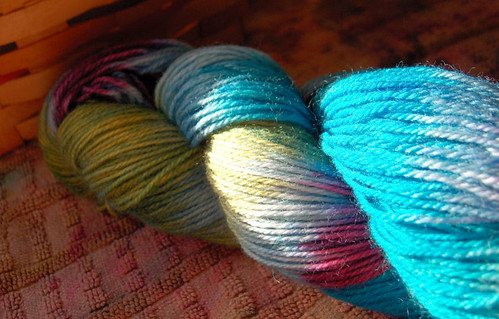 Stripes over dyed skein