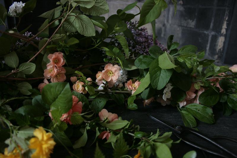 flowers, slate fireplace