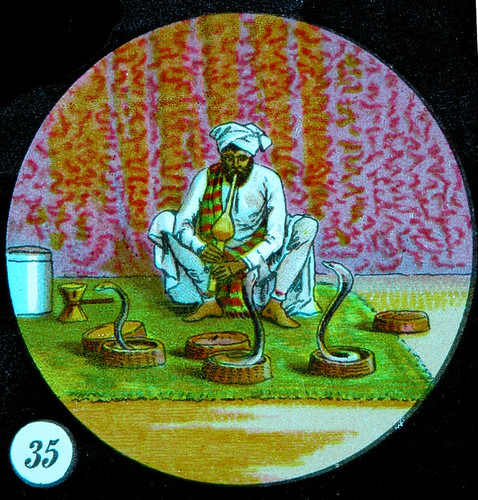 snake charmer magic lantern slide