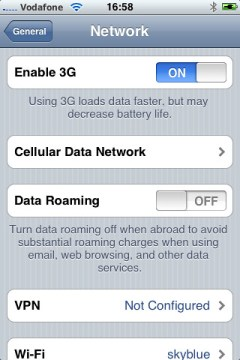 iPhone 3G Enable Cellular Data Network Option