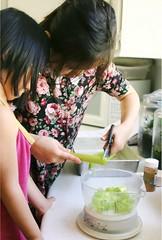 Sophia Measuring and Weighing  Rhubarb