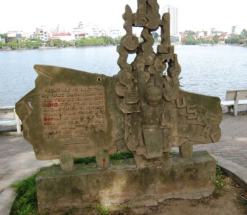 Memorial to John McCains bailout over Truc Bach Lake, Hanoi