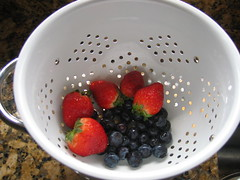 Strawberries and blueberries for my breakfast