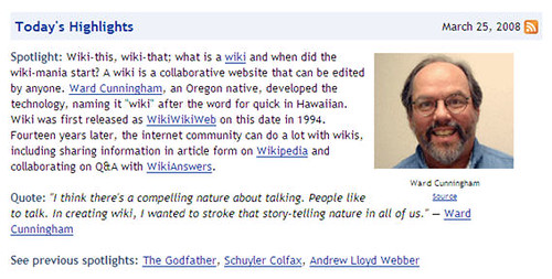 Today's Highlights: Ward Cunningham and wiki