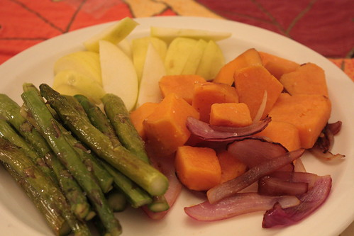 Sweet potato, onions, asparagus, apples